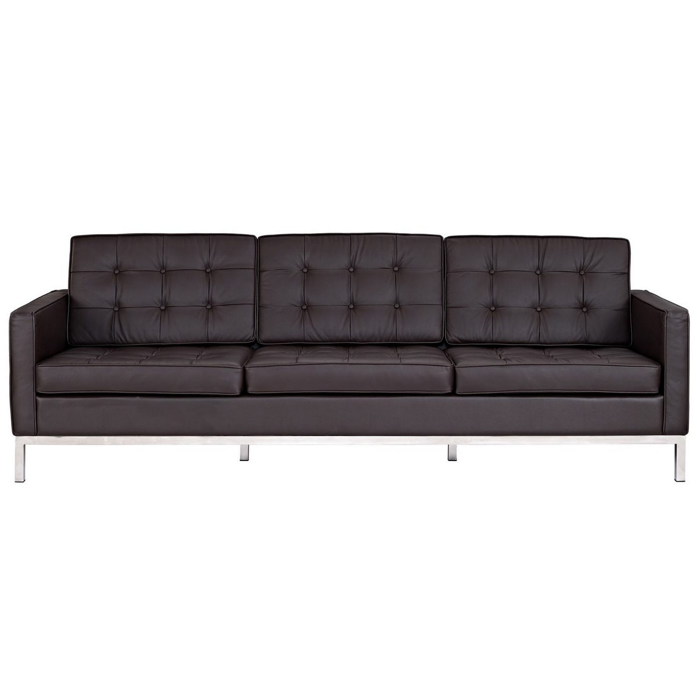 Loft contemporary button tufted leather sofa with steel frame brown Steel frame sofa