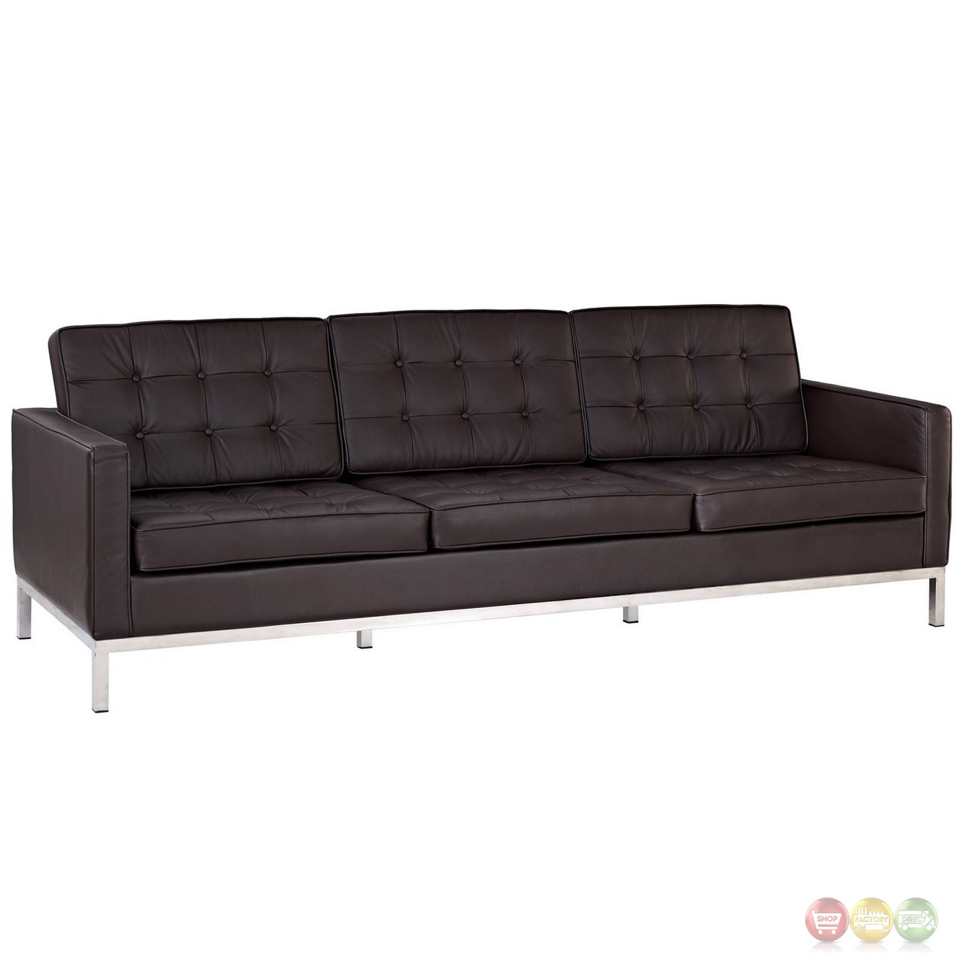 Loft contemporary button tufted leather sofa with steel for Contemporary leather furniture