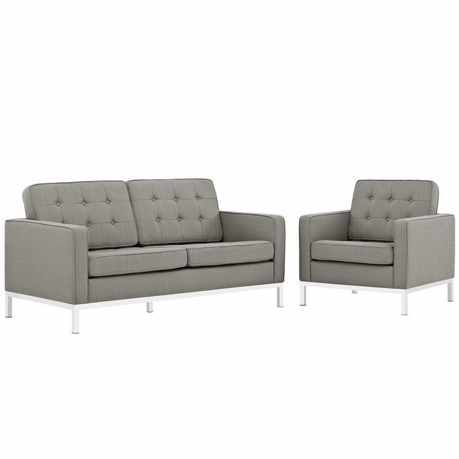 Mid-Century Modern Loft 2pc Button-Tufted Loveseat & Armchair Set, Granite