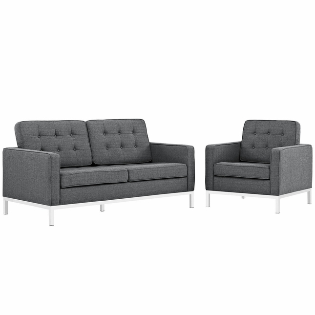 Mid-Century Modern Loft 2pc Button-Tufted Loveseat & Armchair Set, Gray