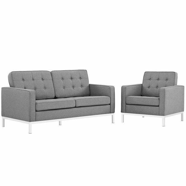 Mid-Century Modern Loft 2pc Button-Tufted Loveseat & Armchair Set, Light Gray