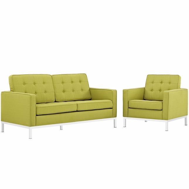 Mid-Century Modern Loft 2pc Button-Tufted Loveseat & Armchair Set, Wheatgrass