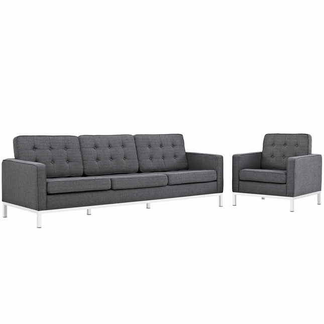 Mid-Century Modern Loft 2pc Button-Tufted Sofa & Armchair Set, Gray