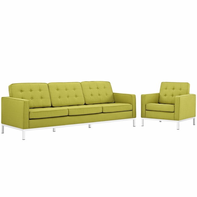 Mid-Century Modern Loft 2pc Button-Tufted Sofa & Armchair Set, Wheatgrass