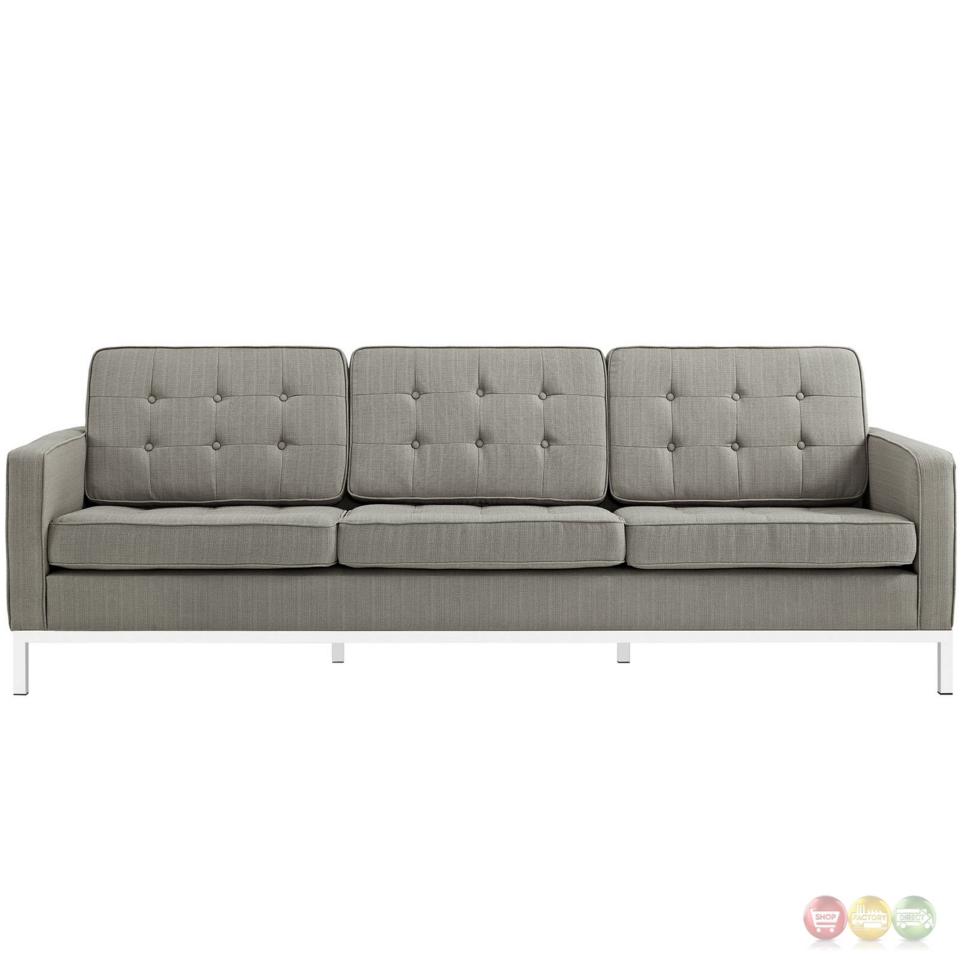 Loft Modern 2pc Upholstered Button Tufted Sofa Loveseat Set Granite