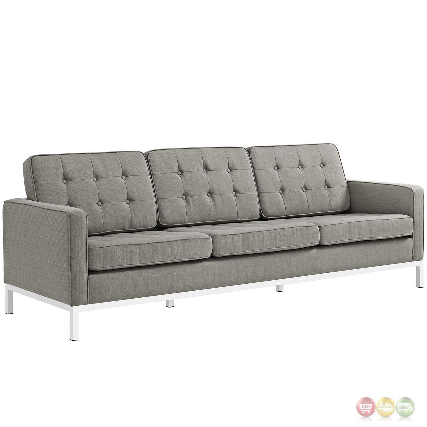 Loft modern 2pc upholstered button tufted sofa loveseat for Tufted couch set