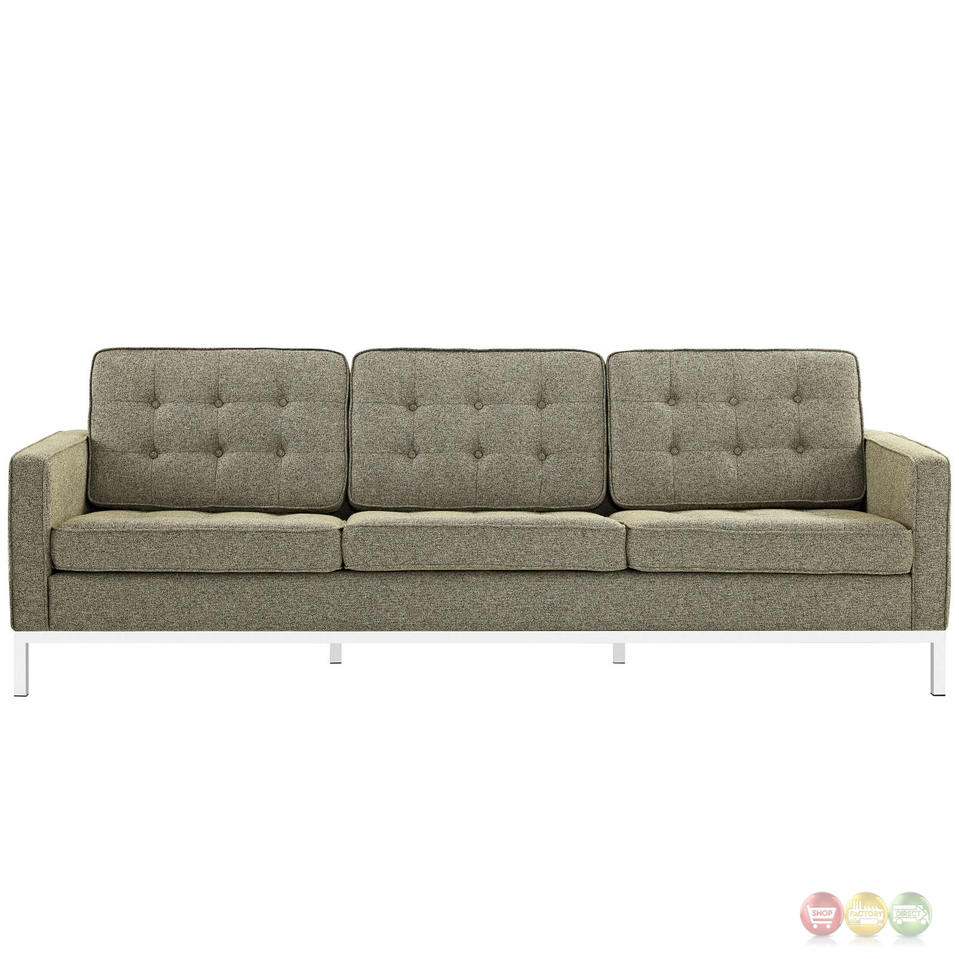 Loft Modern 2pc Upholstered Button Tufted Sofa Loveseat Set Oatmeal