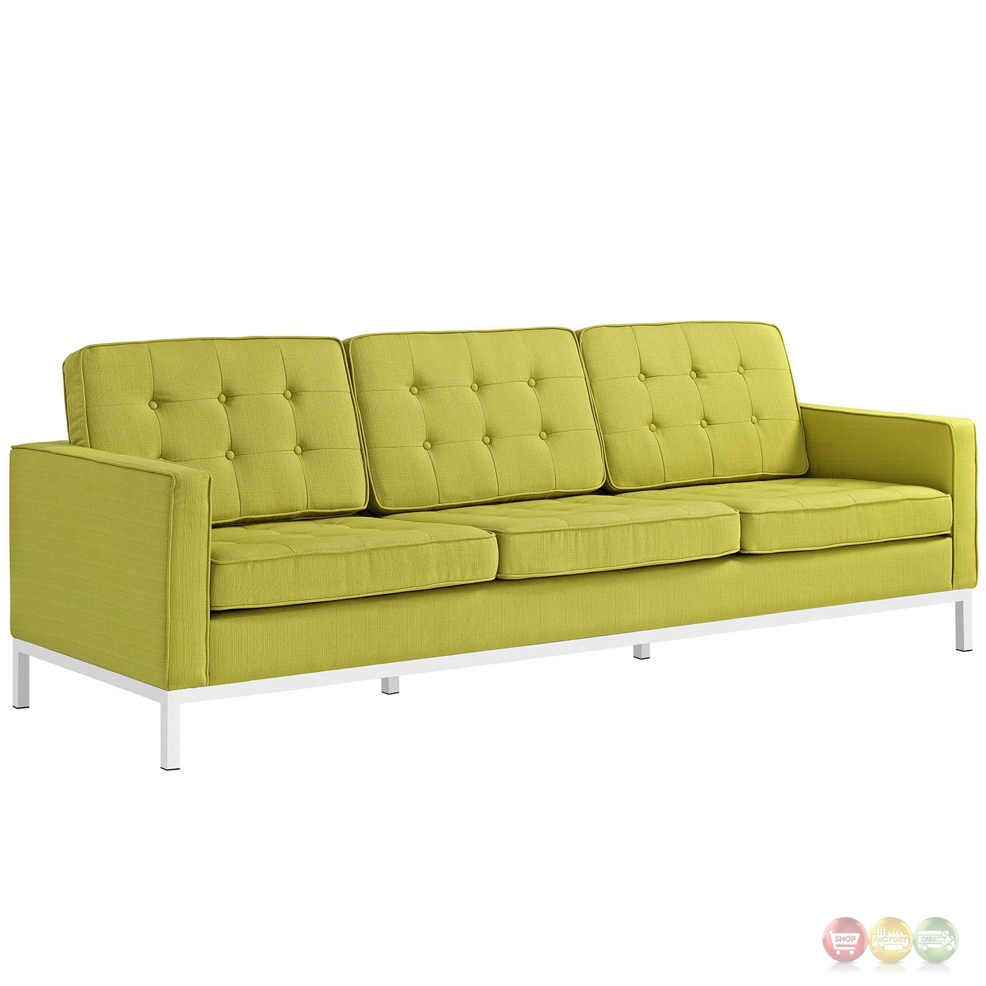 Loft Modern 2pc Upholstered Button Tufted Sofa Loveseat Set Wheatgrass