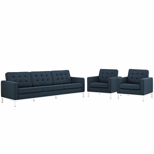 Mid-Century Modern Loft 3-pc Button-Tufted Sofa & Armchairs Set, Azure