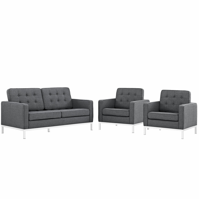 Mid-Century Modern Loft 3-pc Button-Tufted Sofa Set w/ Steel Frame, Gray