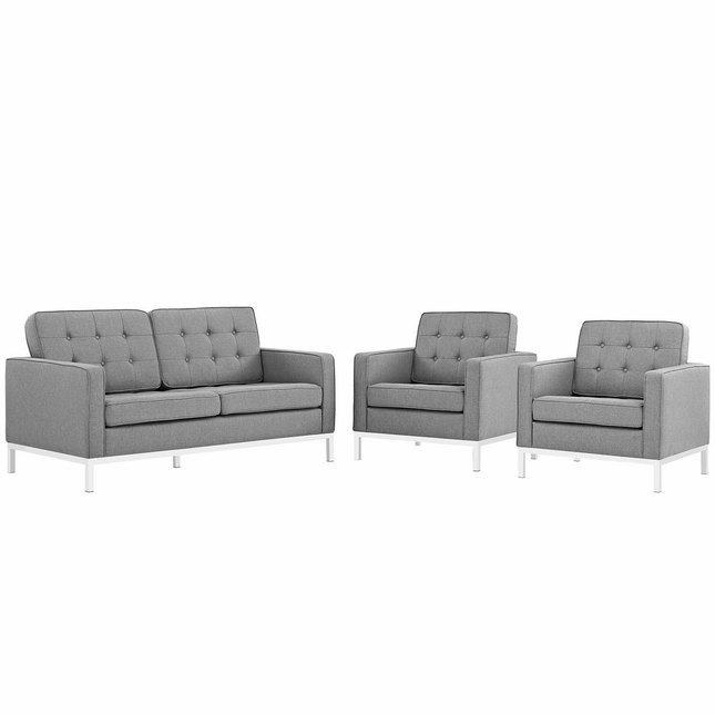 Mid-Century Modern Loft 3-pc Button-Tufted Sofa Set w/ Steel Frame, Light Gray