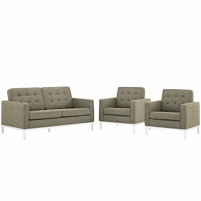 Mid-Century Modern Loft 3-pc Button-Tufted Sofa Set w/ Steel Frame, Oatmeal