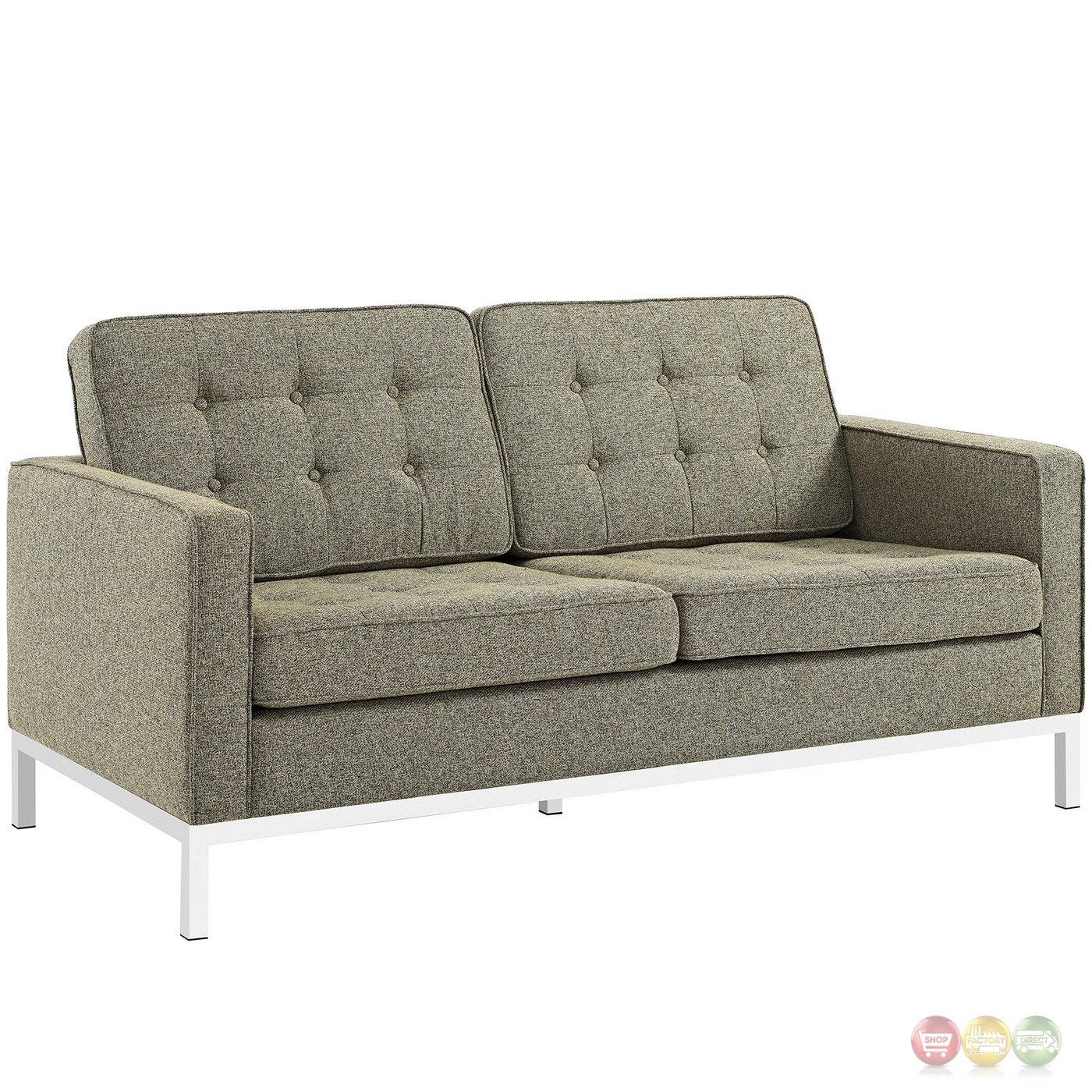 Loft Modern 3 Pc Button Tufted Upholstered Sofa Set W Steel Frame Oatmeal