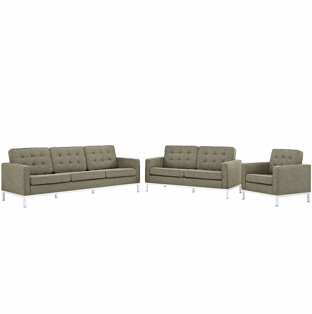 Mid-Century Modern Loft 3pc Button-Tufted Living Room Set, Oatmeal