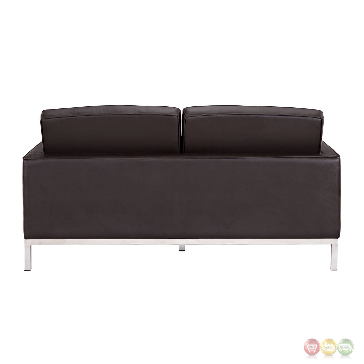 Loft Modern Button Tufted Leather Loveseat With Steel