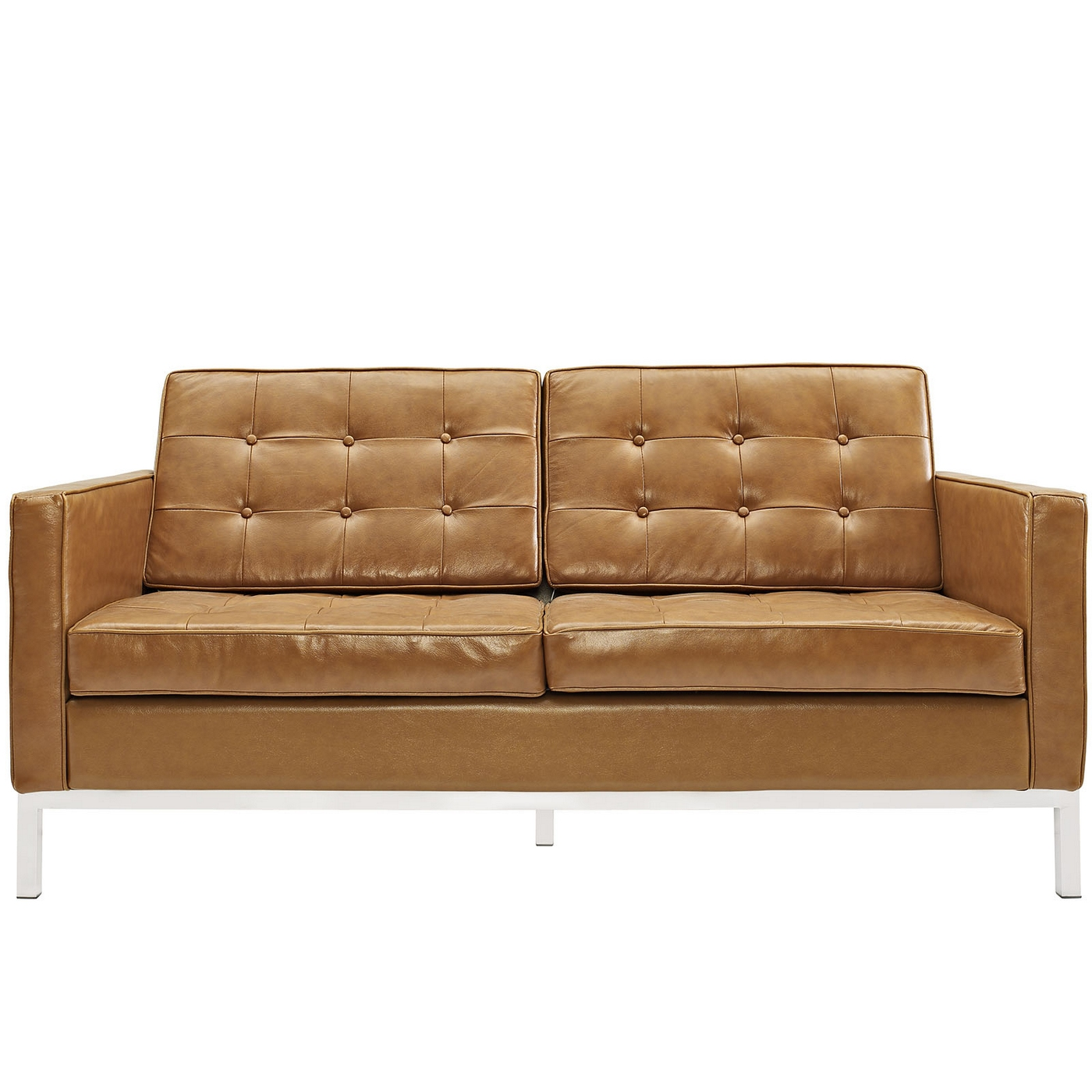 Loft Modern Button Tufted Leather Loveseat With Steel Frame Tan