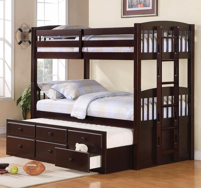 Logan Cappuccino Finish Twin over Twin Storage Bunk Bed