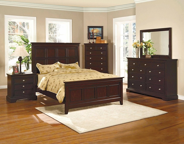 london panel espresso finish bedroom furniture set - Shipping Bedroom Furniture