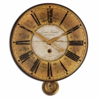 Louis Leniel Transitional Cream and Gold Wall Clock 06034