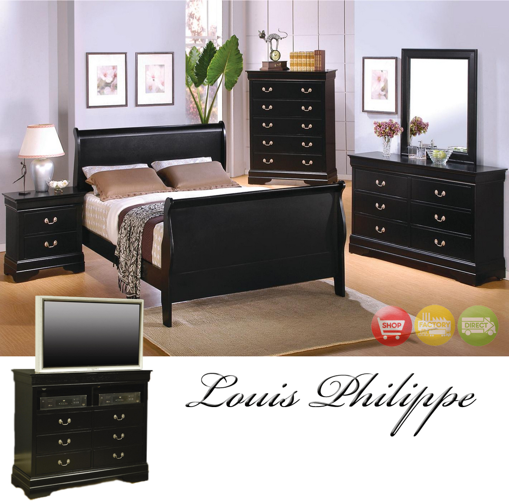Louis Philippe Black Finish Traditional Bedroom Furniture Set Free Shipping