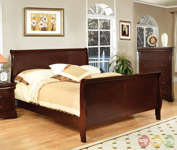 Louis Philippe Iii Traditional Cherry Sleigh Bedroom Set Cm7816ch