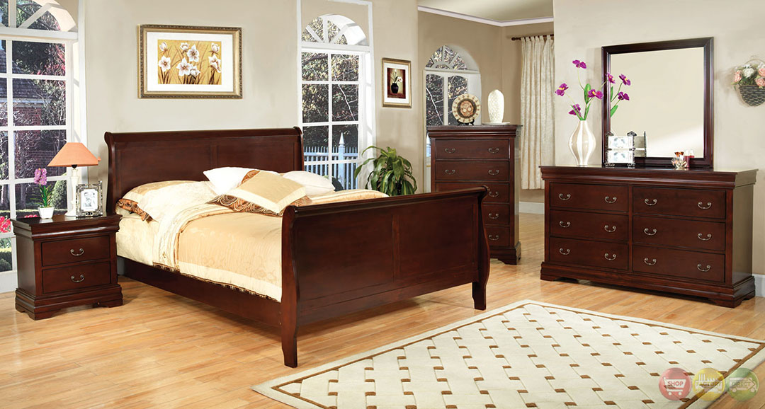traditional cherry bedroom furniture louis philippe iii traditional cherry sleigh bedroom set 17559