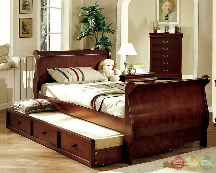 louis philippe jr dark cherry platform sleigh bedroom set