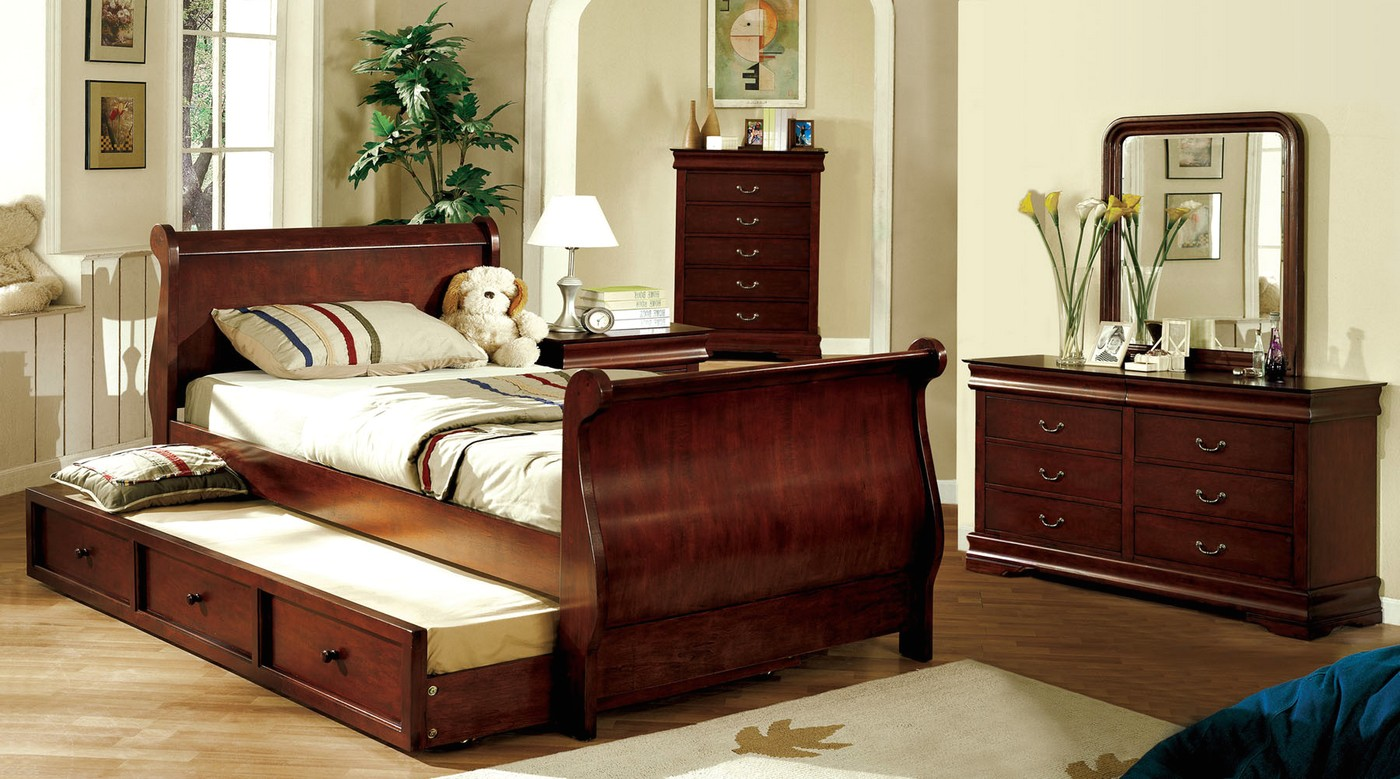 Louis Philippe Jr Dark Cherry Platform Sleigh Bedroom Set With Twin Trundle Cm7828ctr
