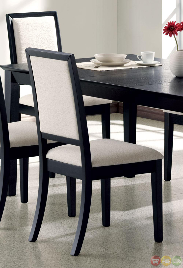 Louise Black Finish Square Legged 7 Piece Dining Set