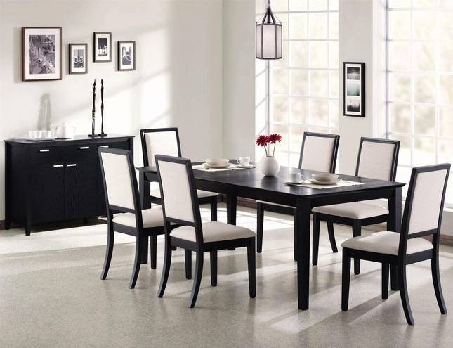 """Louise Contemporary Black 7 Piece Dining Set 60""""-78"""" Table Upholstered Chairs"""