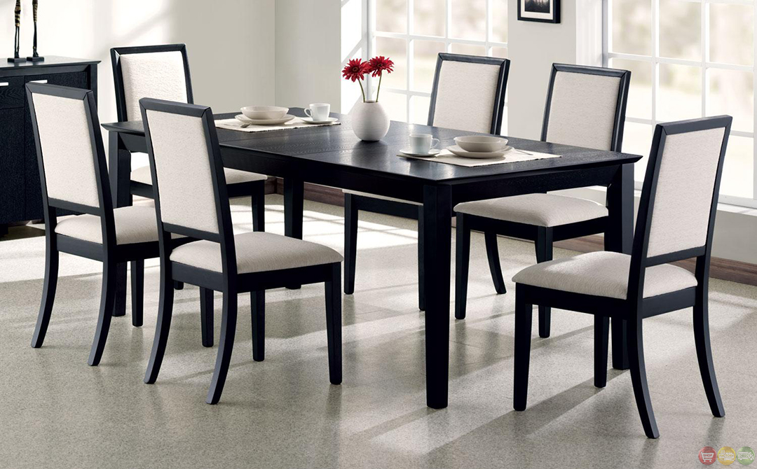 Louise black finish square legged 7 piece dining set for Square dinette sets