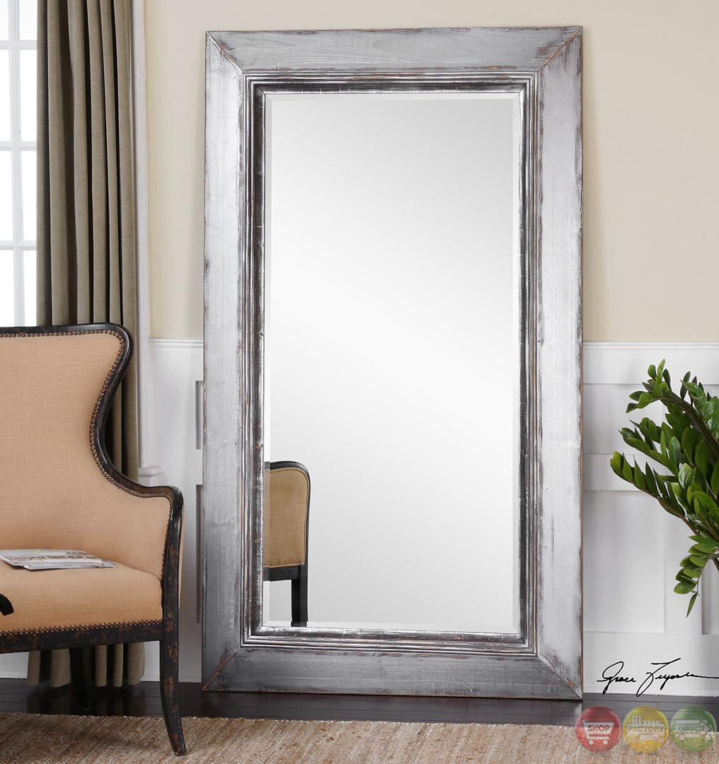 Lucanus contemporary heavily distressed aged silver for Floor wall mirror