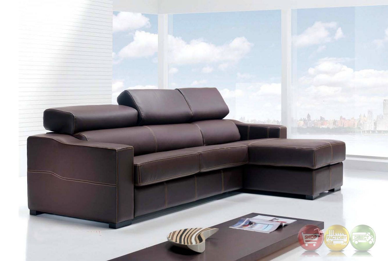 Lucas Brown Leather Sectional Sofa With Sleeper And Storage