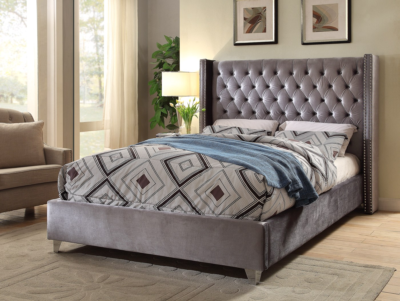 Gray Velvet Button Tufted King Platform Bed : Lucca contemporary grey velvet button tufted king platform bed
