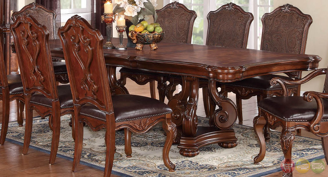 Luciano traditional medium wood formal dining set with for Formal dining sets traditional