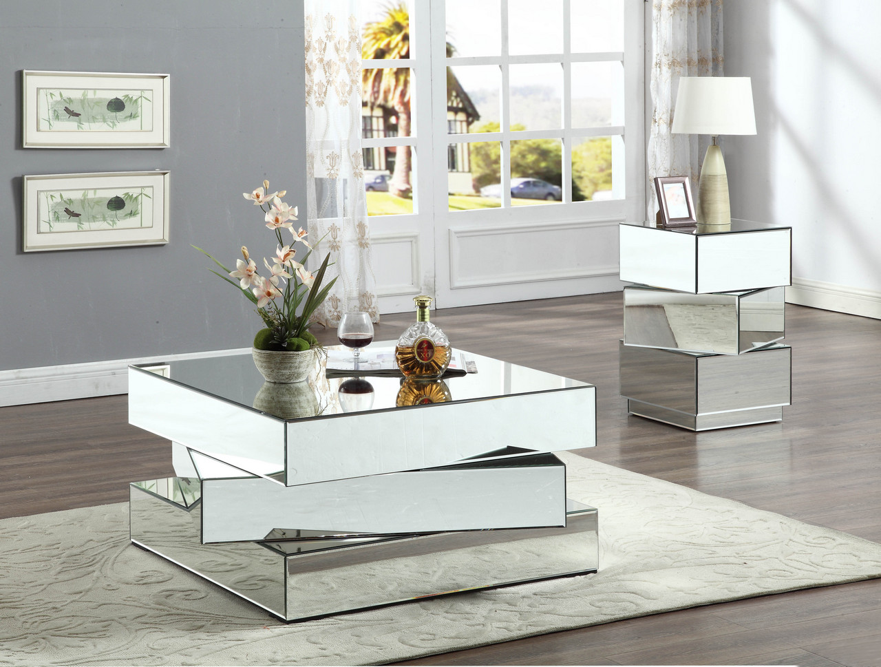 Lucio Contemporary Mirrored Coffee Table With Triple