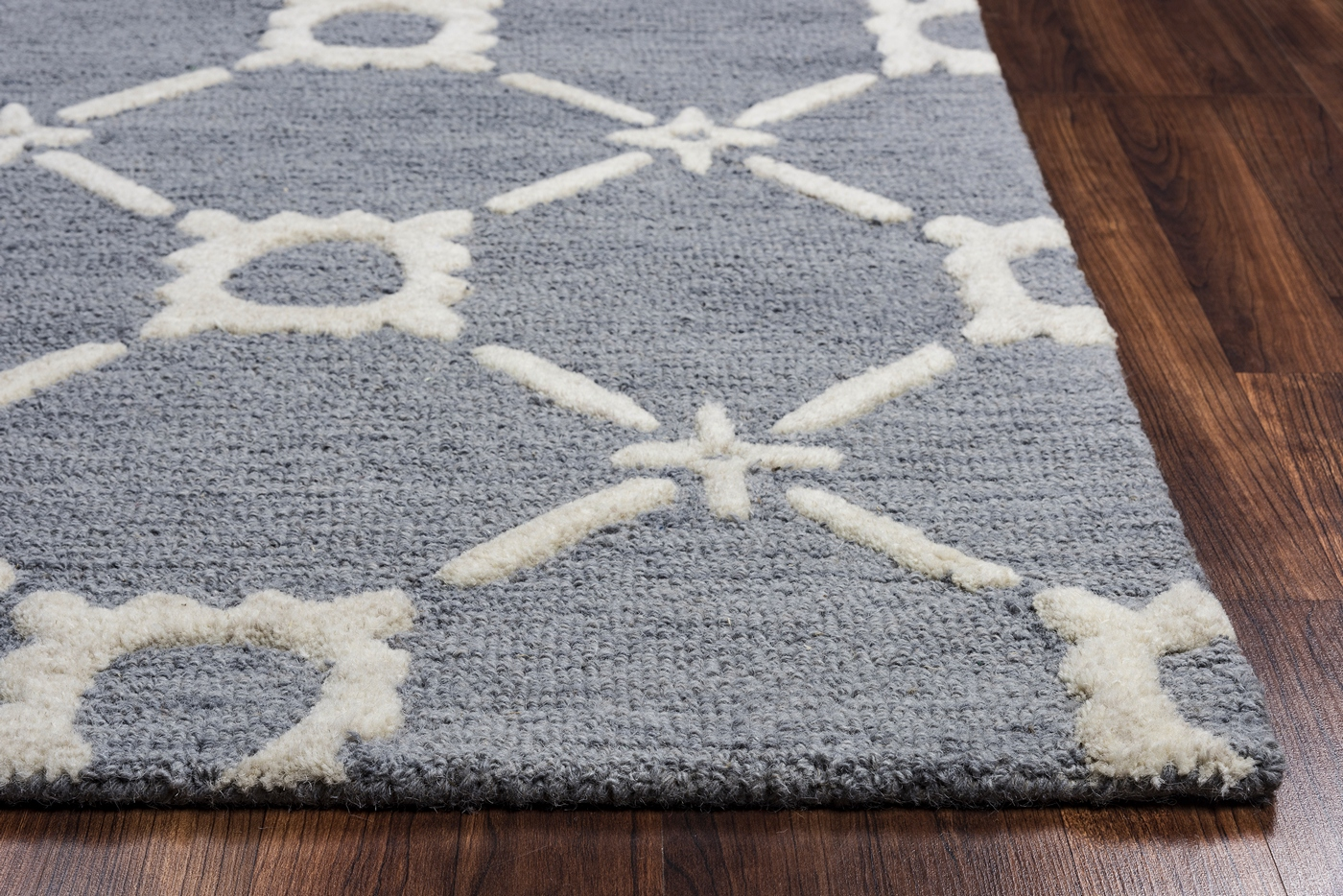 Luniccia Gears Pattern Wool Area Rug In Light Blue Amp Off