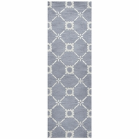 """Rizzy Luniccia Wool Rectangle Runner Area Rug 2'6""""x 8'Light Blue Off White Print"""