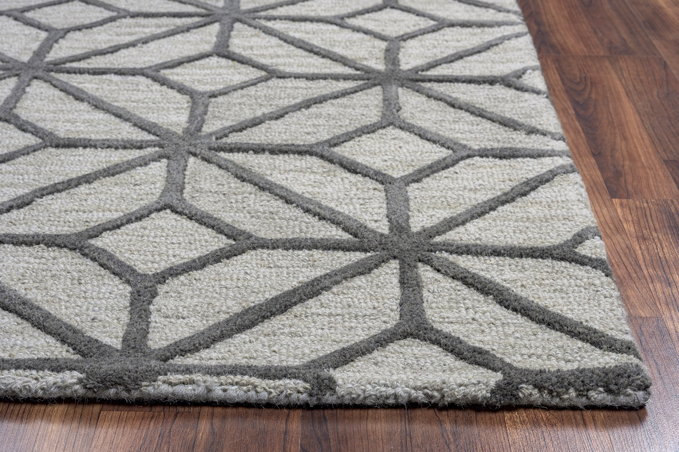 Luniccia Geometric Diamond Pattern Wool Round Rug In Grey