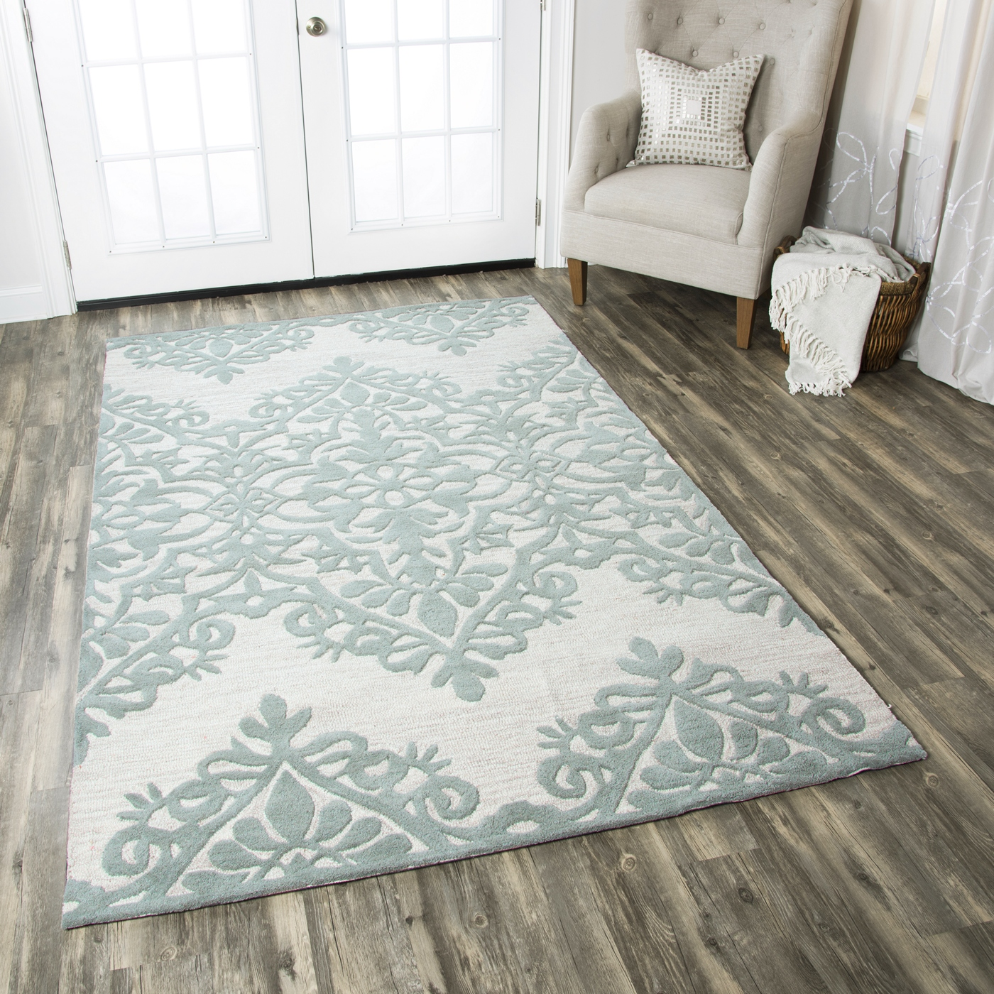 Floral Damask Area Rug: Luniccia Intricate Floral Damask Wool Area Rug In Green