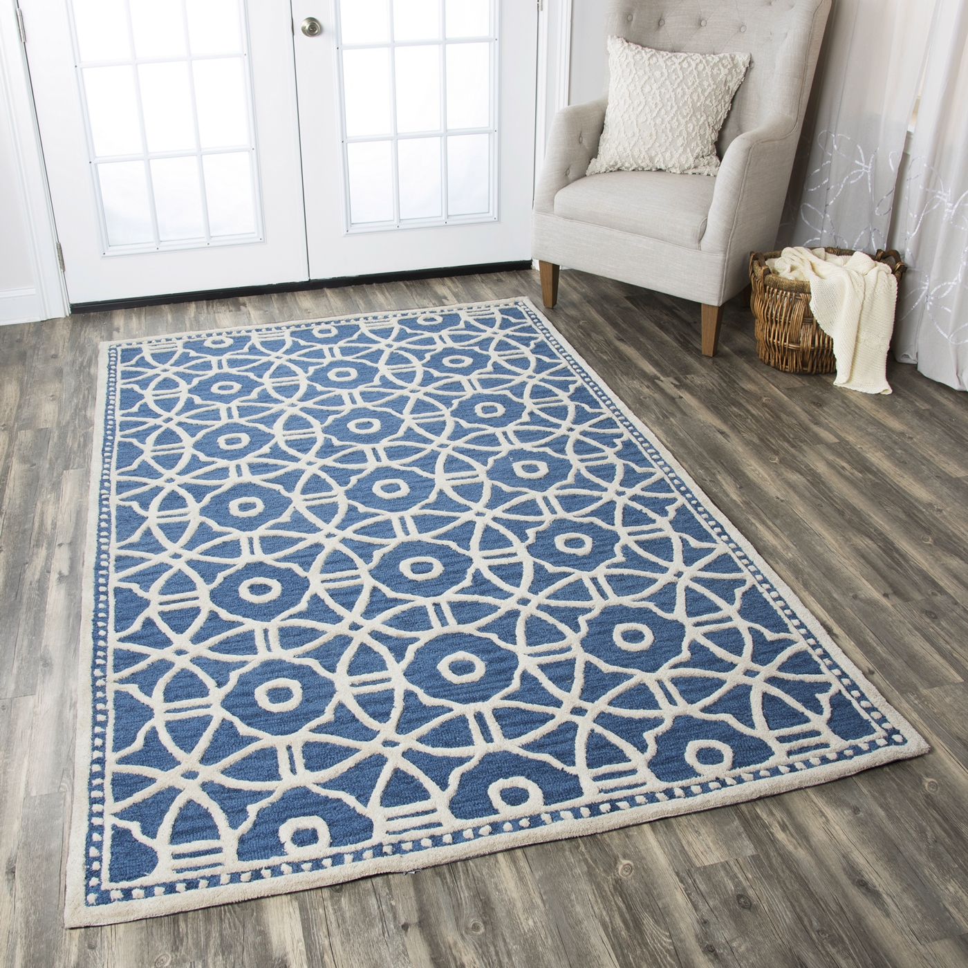 Luniccia Modern Circles Pattern Wool Area Rug In Blue