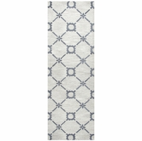 """Rizzy Home Luniccia Wool Rectangle Runner Area Rug 2'6""""x 8' Grey Off White Print"""