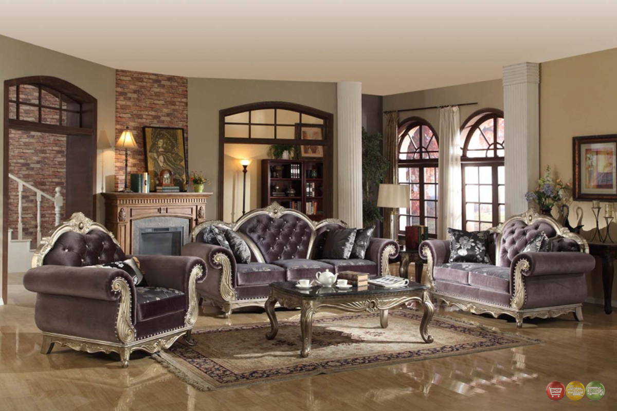 Luxurious Crystal Tufted Dark Gray Velvet Platinum Living Room Furniture Set