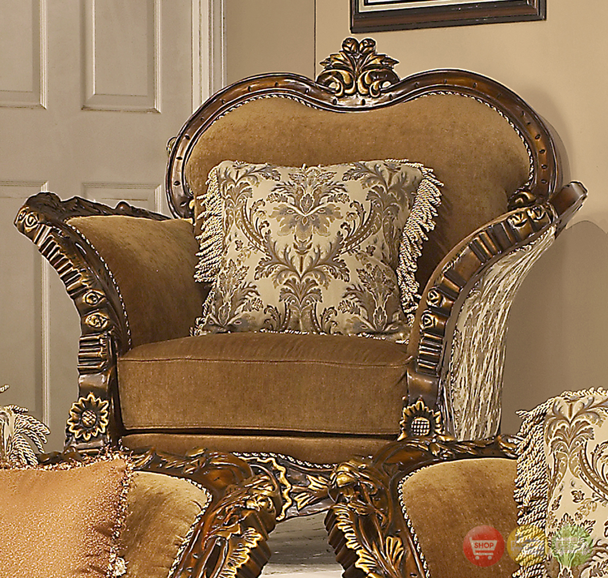 Avignon Antique White Swan Motif Luxury Formal Living Room ...