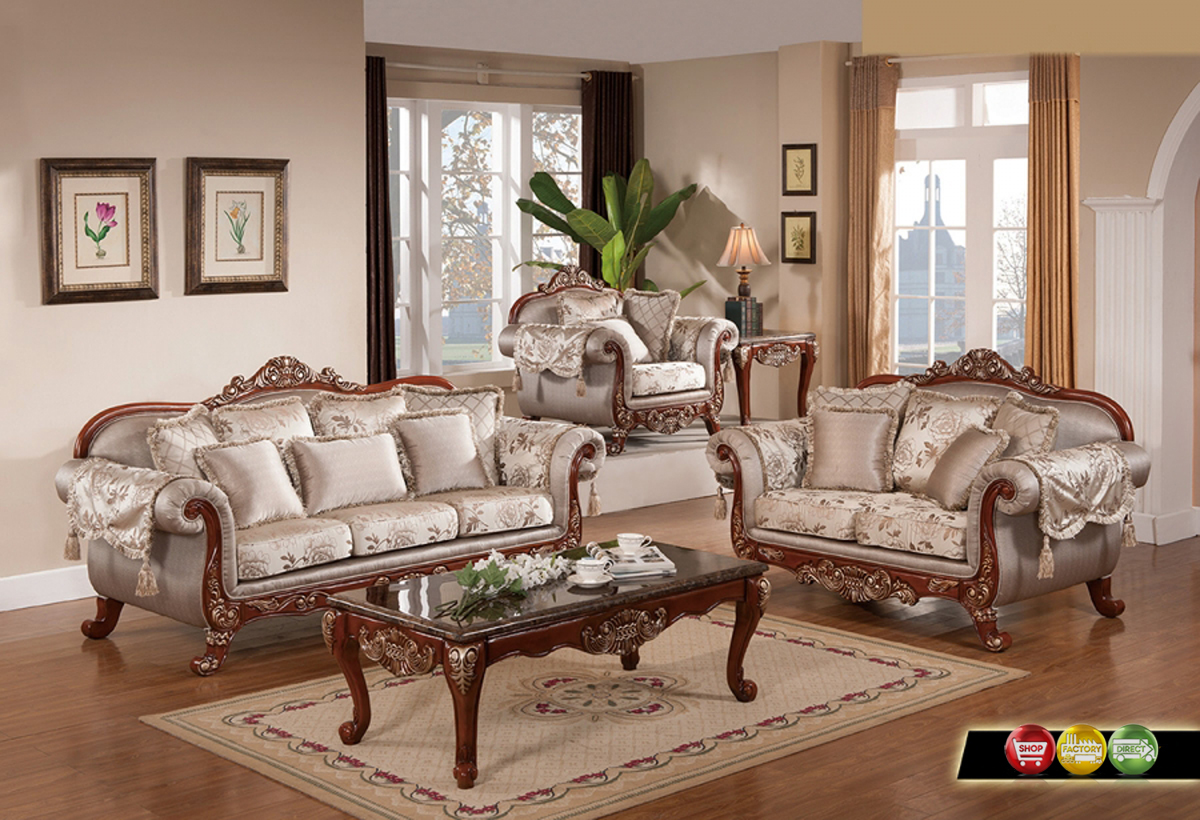 Luxurious traditional formal living room furniture exposed carved wood gold accents - Living room furnature ...