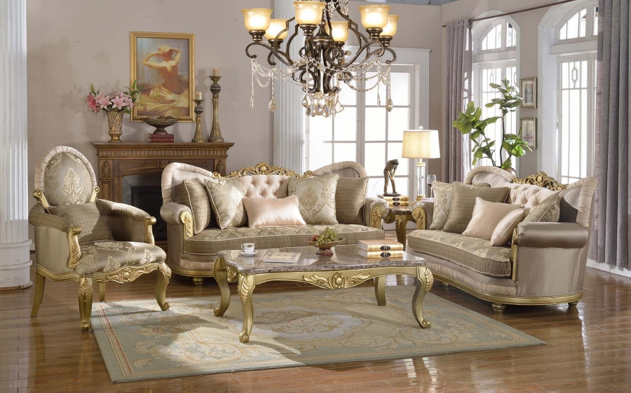 Luxurious Traditional Living Room Furniture Sofa Set