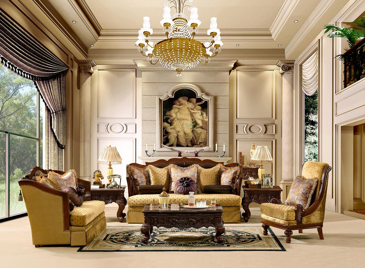 Luxurious traditional style formal living room set hd 1713 - Formal living room furniture sets ...