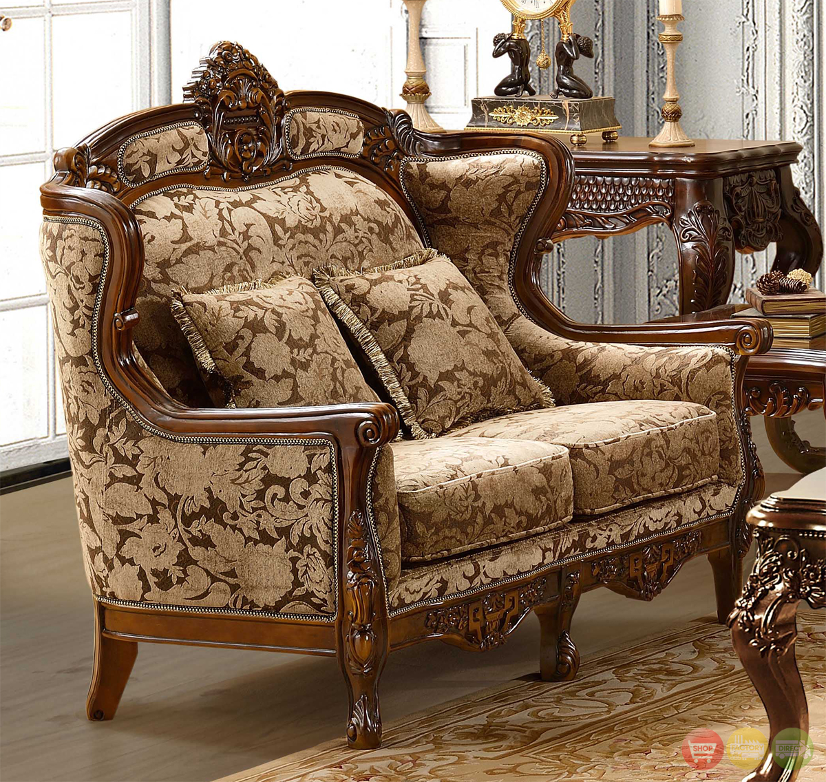 Traditional Sofas Living Room Furniture: Luxurious Chenille Sofa And Loveseat Set HD-839