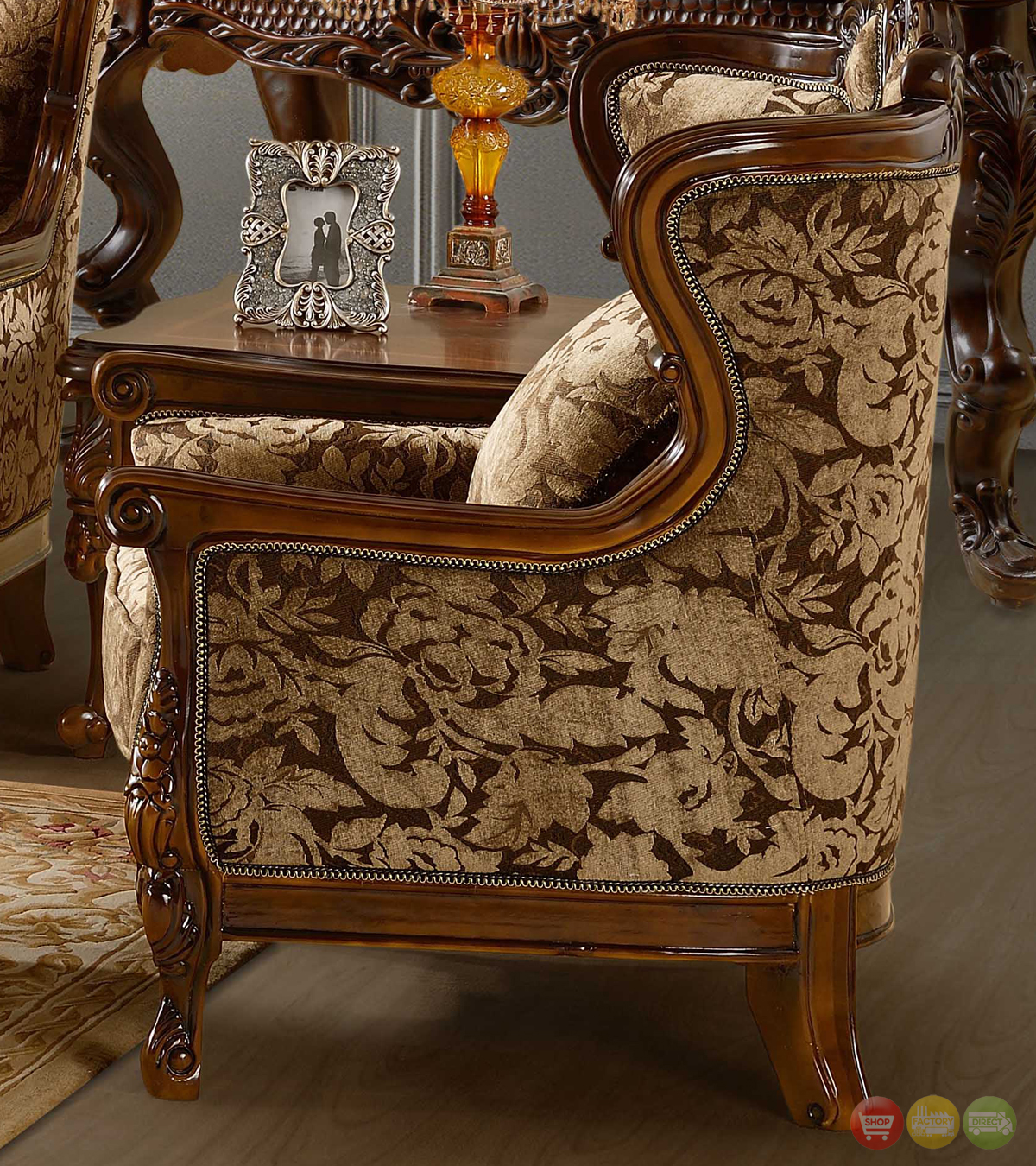 Elegant Traditional Living Room Furniture: Luxurious Chenille Sofa And Loveseat Set HD-839