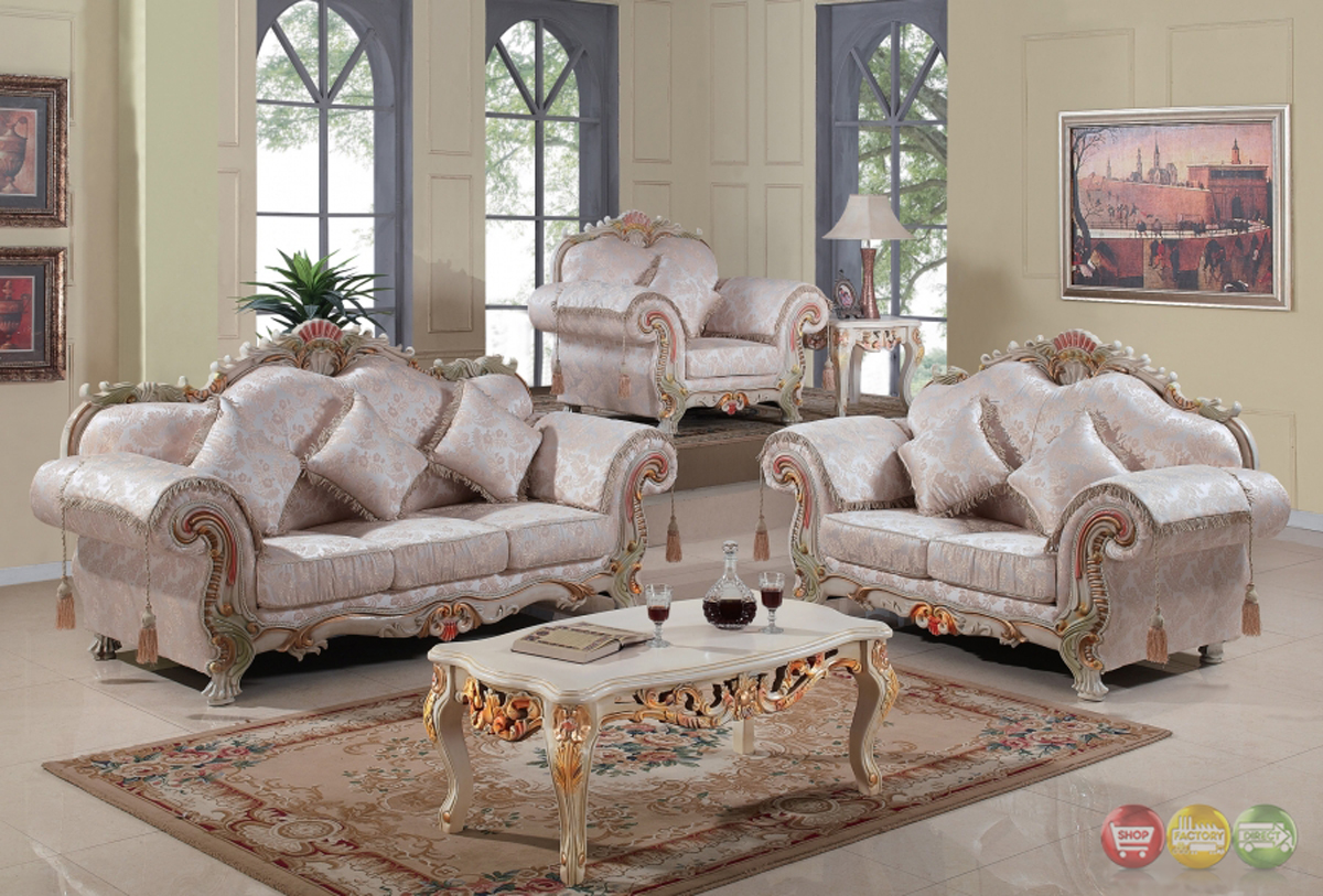 Luxurious traditional victorian formal living room set - White wooden living room furniture ...